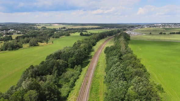 Thumbnail for Railway Through green grassed countryside, Aerial