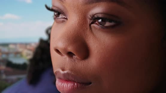 Thumbnail for Close-up of beautiful pensive black female on holiday in Florence