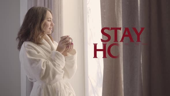 Thumbnail for Young Beautiful Caucasian Woman Drinking Coffee in the Morning As Stay Home Advice Appearing on the