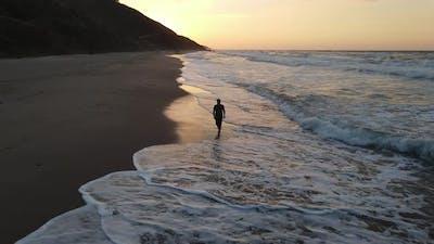 Sadness Alone Walking Beach