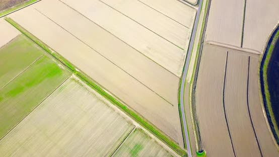 Unseeded Plowed Fields Divided to Plots By Paths in Spring