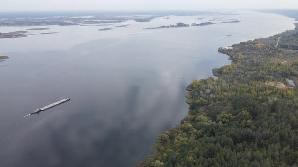 Aerial View of the Dnipro River - the Main River of Ukraine