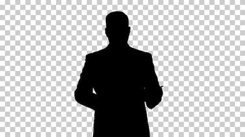 Silhouette  businessman walking , Alpha Channel