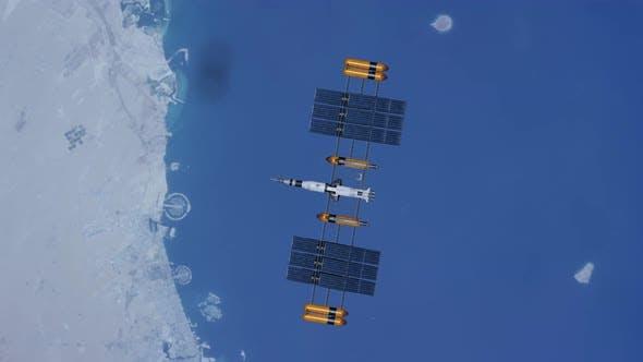 Telecommunication Satellite Floating Earth Planet
