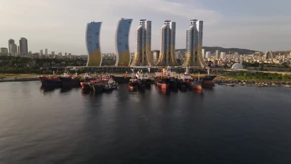 Skyscapers Behind Ship Harbor