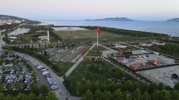 Thumbnail for City Garden Park Drone Shot 4K
