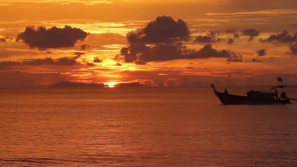 Thumbnail for Long tailed boat in sunset scenery
