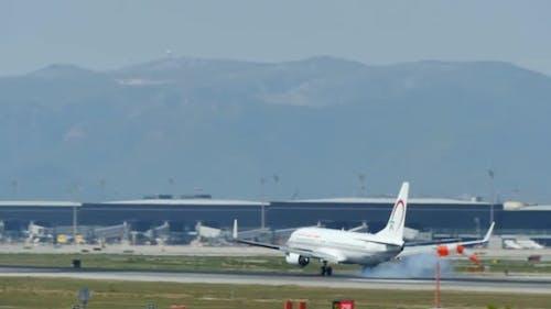 Commercial Airliner Landing at Barcelona International Airport