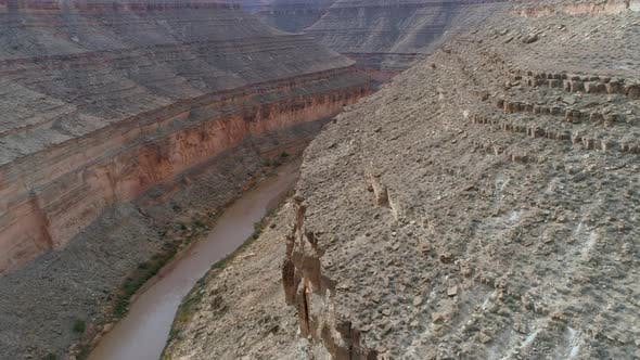 Thumbnail for Flying Over a Rocky Canyon That Is the Bed of the Colorado River in Arizona, USA