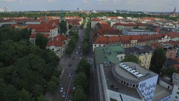 Thumbnail for Aerial shot of Prinzregentenstrasse and buildings