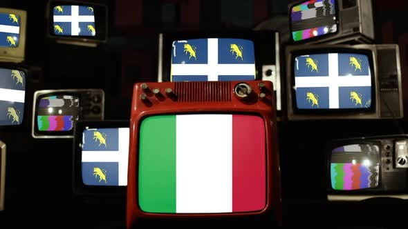 Flag of Turin and Flag of Italy on Vintage Televisions.