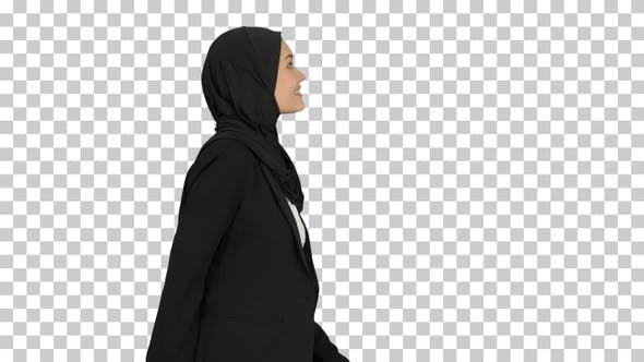 Thumbnail for Smiling islamic female model wearing hijab, Alpha Channel