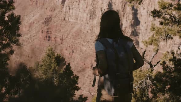 Thumbnail for Amazing Cinematic Shot of Happy Young Female Tourist with Backpack Watching Epic Summer Scenery of