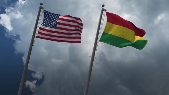 Waving Flags Of The United States And The Bolivia 4K