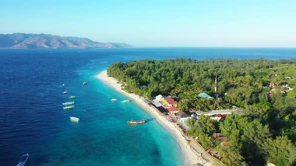 Thumbnail for Natural aerial island view of a paradise sunny white sand beach and aqua blue ocean background in co