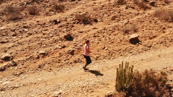 Thumbnail for Young Fit Athlete Jogging on a Rocky Path in the Desert
