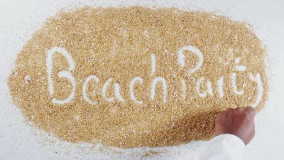 Sand Hand Writing Beach Party