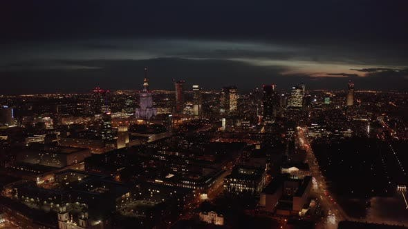 Thumbnail for Aerial Shot of Warsaw City Metropolis Skyline at Night