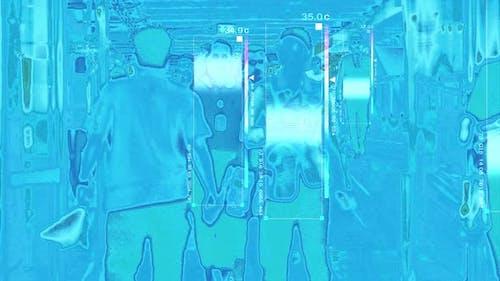 Thermal Imaging Scanning Arriving Passengers
