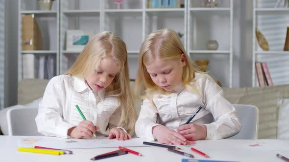 Thumbnail for Diligent Twins Drawing Pictures with Pencils