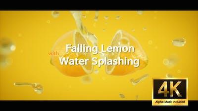 Falling Lemon With Water Splashing