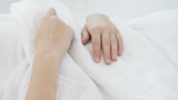 Thumbnail for Girl Sleeping on Cozy Bed Linen, Calm and Quiet Dream on Comfort Mattress