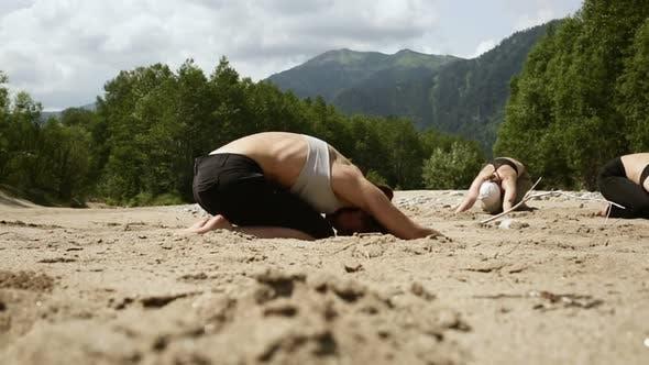 Women Practicing Yoga Outdoors Stretching Body Lying Iroi