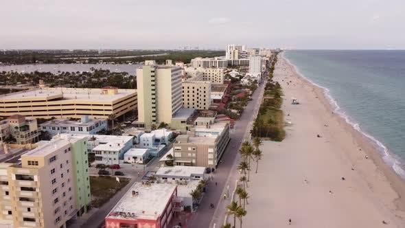 Thumbnail for Hotels Along Hollywood Beach Boardwalk Famous Tourist Travel Destination Circa January 2021