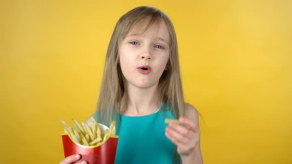 Thumbnail for Cute Little Girl Eating Fries