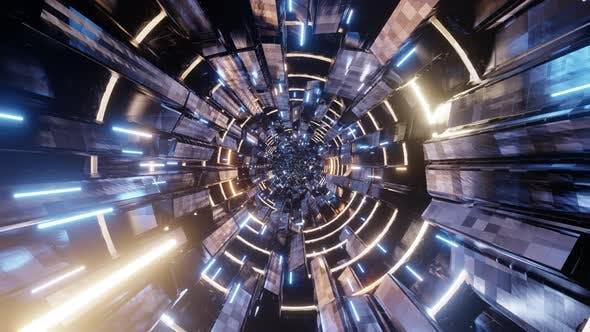 Speed Light Tunnel In Station 02 4K