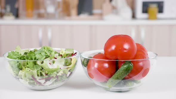 Thumbnail for Vegetables on a Table in Front of the Kitchen