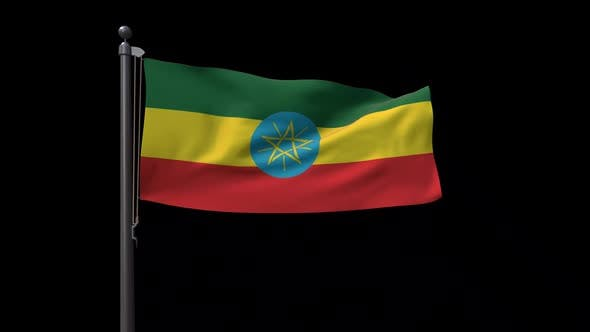 Ethiopia Flag On Flagpole With Alpha Channel