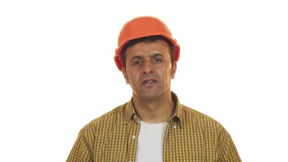 Thumbnail for Professional Constructionist Looking Shocked Taking Off His Hardhat