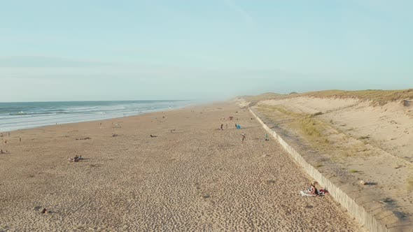 Thumbnail for Beautiful Beach in South of France Coast with People Enjoying Time in the Sand on Sunny Day, Aerial