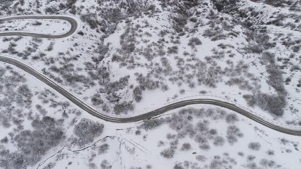 Thumbnail for Top View Of The Road In Snowy Forest
