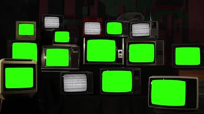 Retro TVs Turning On and Off Green Screens with Static TV.