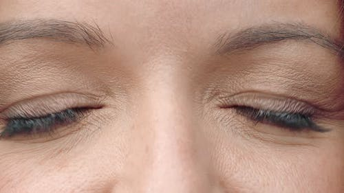 Brown Woman Eyes Close Up. Women's Eyes Are Brown, Slowly Closing and Opening. Perfect Female Eyes