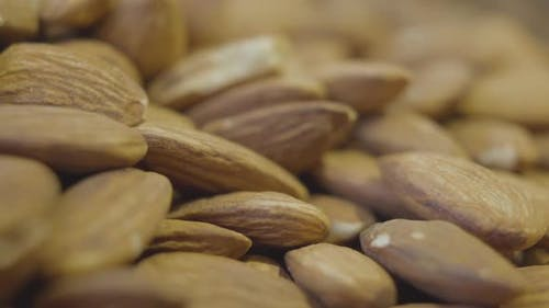 Extreme Close-up of Almond Nuts in Grocery. Healthful Raw Food for People with Lactose Intolerance