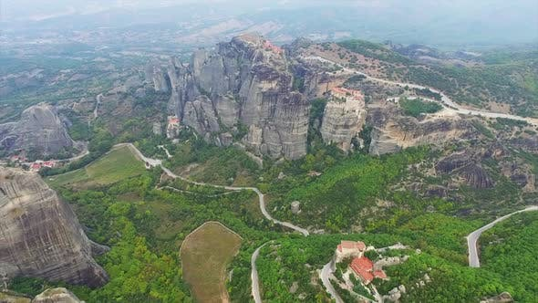 Thumbnail for Aerial view of nature and landscape around rocky meteora monastery complex