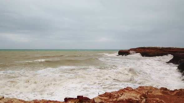 Thumbnail for Ocean Very Big Wave Foam Sea Spray. Powerful Waves Washing Over Dangerous Rocky Coastline Slow