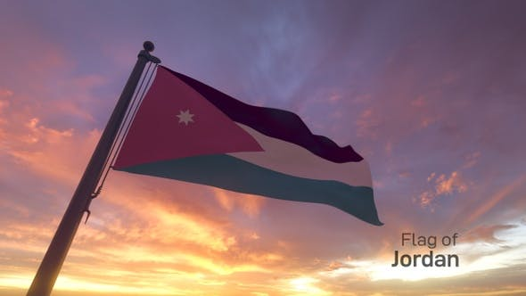 Thumbnail for Jordan Flag on a Flagpole V3