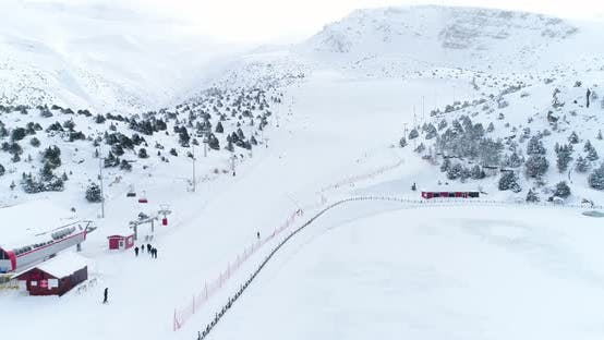 Thumbnail for Ski Center And Skiers Aerial View