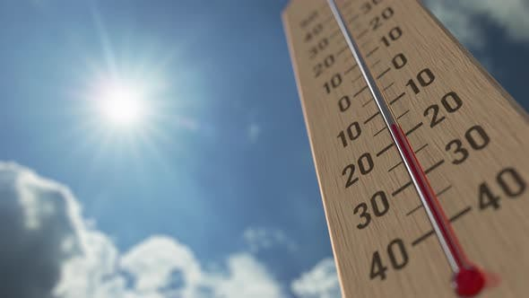 Outdoor Thermometer Reaches 10 Ten Degrees Centigrade