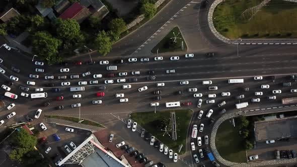 Thumbnail for Drones Eye View - Traffic Jam Top View, Transportation Concept 9