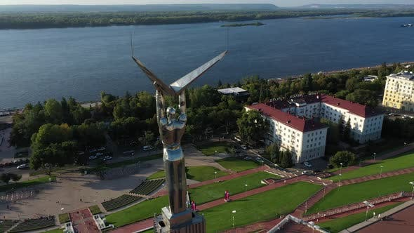View From the Quadrocopter on a High Landmark in the Center of the Square