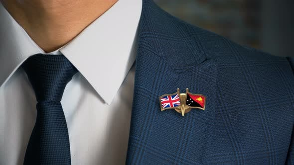 Thumbnail for Businessman Friend Flags Pin United Kingdom Papua New Guinea
