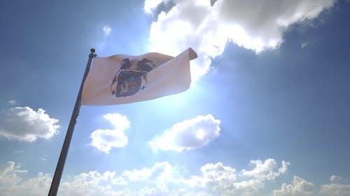 Aguascalientes Flag (Mexico) on a Flagpole V4