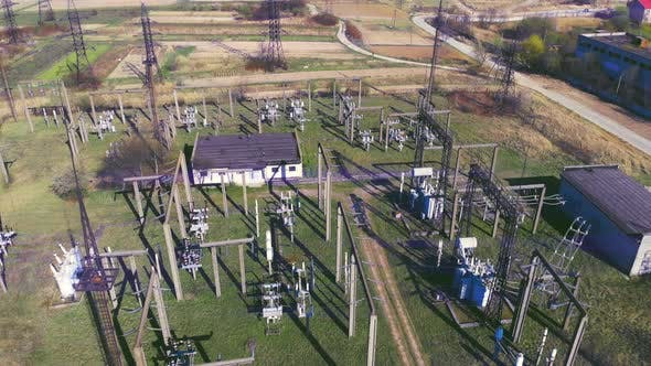 Thumbnail for High Voltage Electrical Substation. High Voltage Power Plant for a Small Town. Electric Power