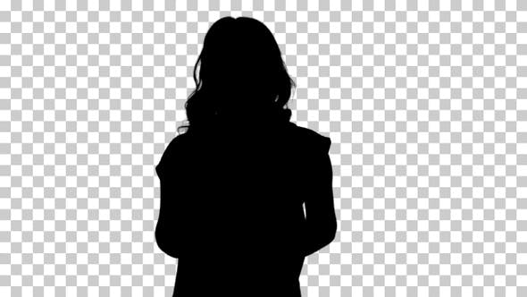 Silhouette Young good-looking woman in casual T-shirt with