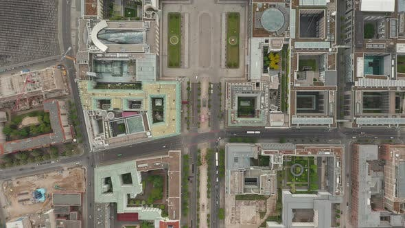 Thumbnail for Overhead Top Down View of Empty European City Street Berlin Central During Coronavirus COVID